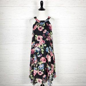 Betsey Johnson • Black Floral Trapeze Swing Dress